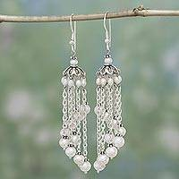 Pearl chandelier earrings, 'Rainshower' - Pearl Waterfall Earrings Handmade in Sterling Silver