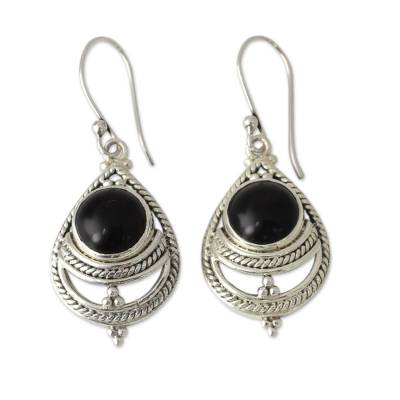 Onyx Earrings Handmade with Sterling Silver India