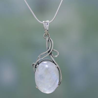 Moonstone necklace, 'Flirt' - Fair Trade Sterling Silver and Moonstone Necklace