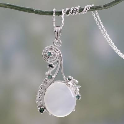 Moonstone and emerald necklace, 'Enchanted Moon' - Fair Trade Jewelry Sterling Silver and Moonstone Necklace