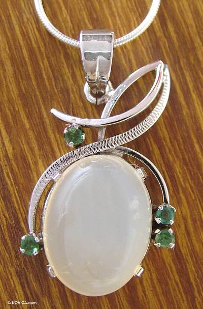 Moonstone and emerald pendant necklace