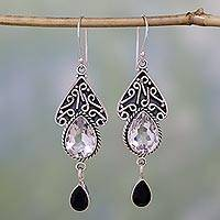 Quartz and onyx dangle earrings, 'Queen of Jaipur' - Quartz and Onyx Silver Dangle Earrings