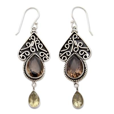 Smoky Quartz on Sterling Silver Artisan Crafted Earrings