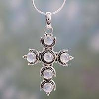 Rainbow moonstone cross necklace, 'Cross of Purity' (India)