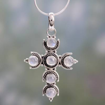 Rainbow moonstone cross necklace, 'Cross of Purity' - Rainbow Moonstone Cross Necklace
