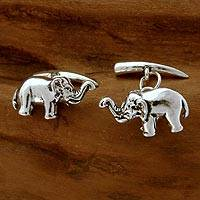Sterling silver cufflinks, 'Silver Elephants' - Hand Crafted Men's Jewelry Sterling Silver Cufflinks