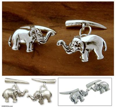 Sterling silver cufflinks, 'Silver Elephants' - Hand Crafted Men's jewellery Sterling Silver Cufflinks