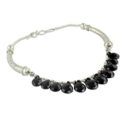 Onyx Choker Sterling Silver Necklace Handmade India
