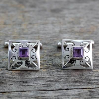 Amethyst cufflinks, 'Love Quadrant' - Amethyst and .925 Sterling Silver Square Jali Cufflinks