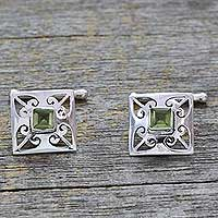 Peridot cufflinks, 'Love Quadrant' - Men's jewellery Sterling Silver Peridot Cufflinks