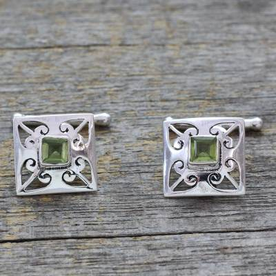 Peridot cufflinks, 'Love Quadrant' - Men's Jewelry Sterling Silver Peridot Cufflinks
