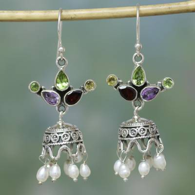 Pearl and amethyst earrings, 'Fairy Princess' - Sterling Silver Chandelier Earrings with Pearls and Gems