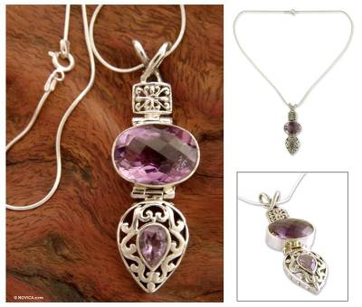 Amethyst pendant necklace, 'Wise Beauty' - India Jewelry Sterling Silver and Amethyst Necklace