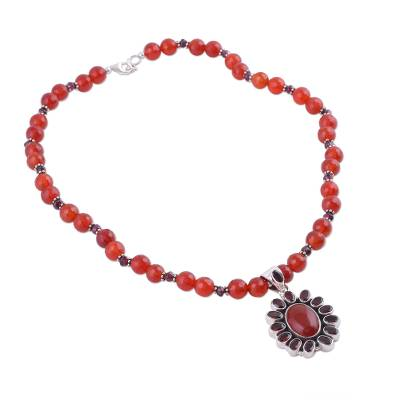 Garnet and Carnelian Necklace India Silver Jewelry