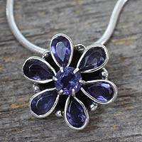 Iolite floral necklace, 'Shy Violet' - Floral Jewelry Sterling Silver Iolite Necklace from India