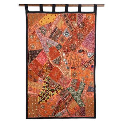 Gujarati Cotton Wall Hanging with Beads and Sequins