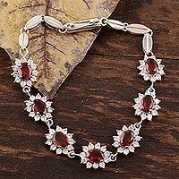 Garnet flower bracelet,