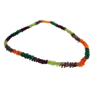 Garnet and peridot long necklace, 'Rainbow Garland' - Garnet and peridot long necklace