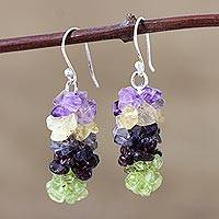 Garnet and peridot earrings, 'Tropical Garland' - Garnet and peridot earrings