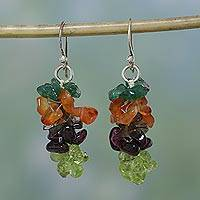 Garnet and carnelian cluster earrings, 'Festivity' - Multigem Garnet and Carnelian Earrings