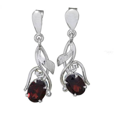 Garnet Earrings in Sterling Silver Handmade Artisan Jewelry