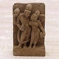 Sandstone sculpture, 'Vishnu's Undying Love' - Sandstone sculpture