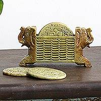 Marble coasters and holder, Lotus Elephants (set of 6)