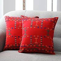 Cotton cushion covers, 'Sequences' (pair) - Fair Trade Set of Bollywood Cushion Covers from India