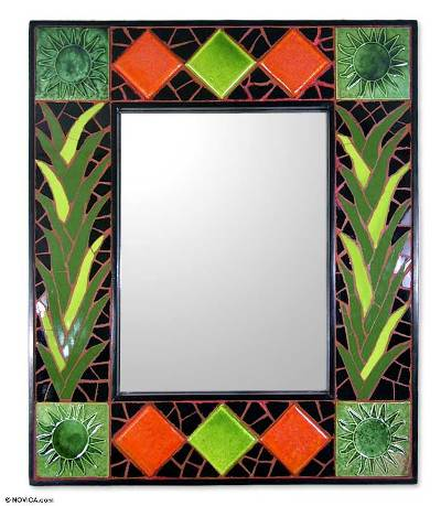 Artisan Crafted Mosaic Tile Wall Mirror from India