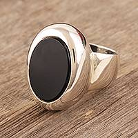 Onyx cocktail ring, 'Inspiration' - Black Onyx Set in Sterling Silver Ring from India Jewelry