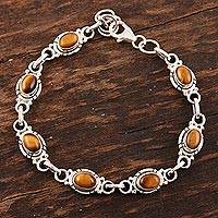 Tiger's eye link bracelet, 'Exotic Earth' - Sterling Silver and Tigers Eye Link Bracelet