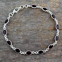 Garnet tennis bracelet, 'Romantic Red' - Authentic Handmade Silver Moon Bracelet with Garnet Stones