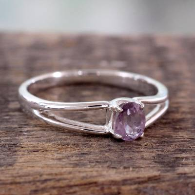 Amethyst solitaire ring, 'Lilac Solitaire' - Sterling Silver and Amethyst Ring