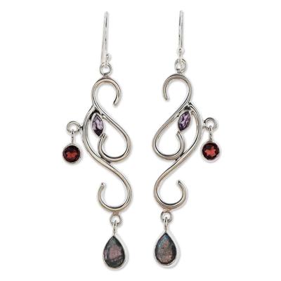 Artisan Crafted Garnet and Labradorite Earrings