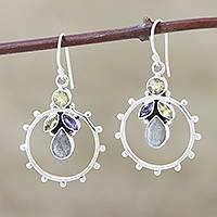 Citrine and iolite dangle earrings,