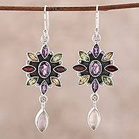 Amethyst and rose quartz flower earrings, 'Precious Petals' - Floral Multigem Dangle Earrings from India