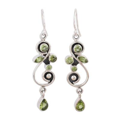Peridot on Sterling Silver Floral Earrings Artisan Jewelry