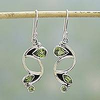 Peridot dangle earrings, 'Intricate Harmony' - Sterling Silver and Peridot Earrings Fair Trade Jewelry