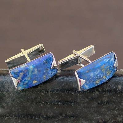 Lapis lazuli cufflinks, 'Blue Intensity' - Modern Sterling Silver Lapis Lazuli Cufflinks