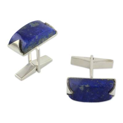 Modern Sterling Silver Lapis Lazuli Cufflinks