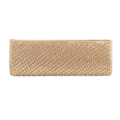 Beaded clutch handbag, 'Golden Stars Align' - Unique Beaded Evening Clutch Bag