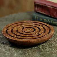 Wood maze game, 'Labyrinth' - Wood Maze Game Marbles Handmade India