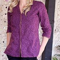 Cotton tunic, 'Amethyst Enchantment' - Purple Cotton Tunic Blouse from India