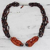 Garnet and carnelian strand necklace,