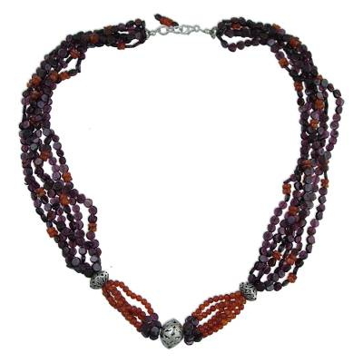Garnet and carnelian strand necklace