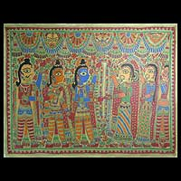 Madhubani painting, 'The Wedding' - Madhubani painting
