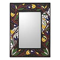 Mirror, 'Tantalizing Tulips' - Hand Made Mosaic Ceramic Wall Mirror