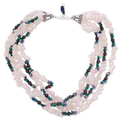 Rose quartz and lapis lazuli torsade necklace