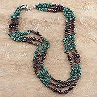 Malachite and amethyst strand necklace, 'Jacaranda Passions' - Amethyst and Malachite Beaded Necklace
