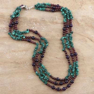 Malachite and amethyst strand necklace, 'Jacaranda Passions' - Malachite and amethyst strand necklace